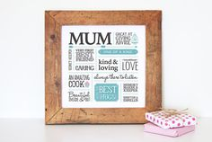 Mother Typographic Print // Mother's Day Gift // Wall by karenwalk