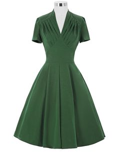 Women Dress Retro Vintage 50s Swing Dresses black Elegant V Neck Short Sleeve Vestidos Femininos 2016 Summer Work Office Dress >>> Want to know more, click on the image.