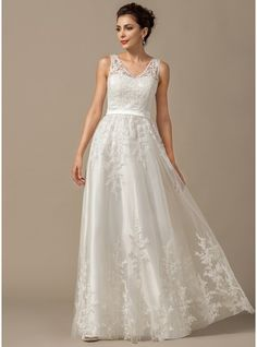 A-Line/Princess V-neck Floor-Length Tulle Wedding Dress With Appliques Lace