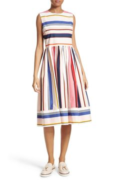 Main Image - kate spade new york berber stripe fit & flare dress