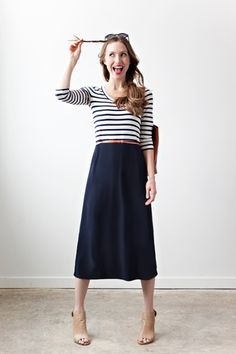 maybe a bit shorter. love the navy... and the stripes. This screams you @Hollis English
