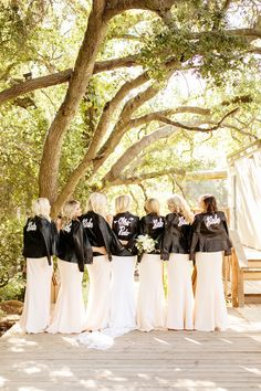 Personalized bridal jackets are the coolest new wedding fashion trend. Here, see examples of the chicest personalized bridal jackets—made from leather, denim, and more—here! Pink Bridesmaid Dresses Long, Wedding Dresses, Bridesmaid Ideas, Bouquet Wedding, Wedding Nails, Wedding Bridesmaids, Wedding Preparation Photos, Motorcycle Wedding, Wedding Jacket
