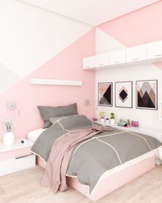 Beautiful pink bedroom design that perfect for teenage girls Pink Bedroom Walls, Girls Bedroom Wallpaper, White Bedroom Design, Pink Bedroom Decor, Bedroom Wall Designs, Room Design Bedroom, Bedroom Decor For Teen Girls, Pink Bedrooms, Bedroom Wall Colors