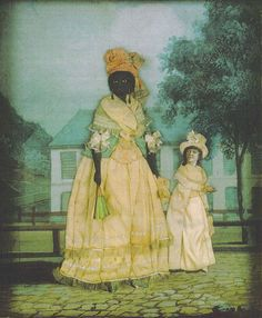 Free woman of color with quadroon daughter. Late 18th-century collage painting, New Orleans.