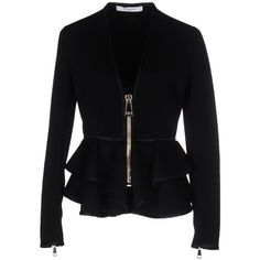 Givenchy Blazer ($1,155) ❤ liked on Polyvore featuring outerwear, jackets, blazers, black, single breasted jacket, ruffle blazer jacket, givenchy blazer, zip jacket and givenchy jacket