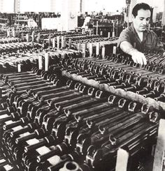 Sight adjustment on the Uzi submachine gun production line at Israeli Military Industries (ca. 1960) Loading that magazine is a pain! Excellent loader available for the Uzi Get your Magazine speedloader today! http://www.amazon.com/shops/raeind