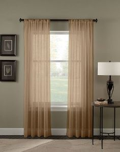 "2 Piece Set 95"" Long Solid Sheer Curtains Panels Window Treatment (Taupe)"
