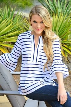 Shay Tunic, Navy Stripe :: NEW ARRIVALS :: The Blue Door Boutique