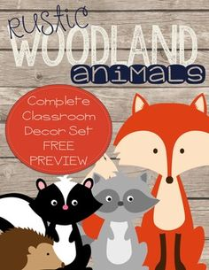 This is a freebie sample of my Woodland Animals Complete Classroom Decor Set. This Woodland Animals decor set has a rustic look to it. Animals include: fox, raccoon, skunk, deer, owls, hedgehog, and squirrels. Here is a list of most that is included IN THE FULL VERSION: Welcome Banner (2 Styles-Circle and Flag)Welcome PostersCommunication PostcardsCalendar PiecesAlphabet  (Chalkboard, D'Nealian and Cursive)Number CardsClassroom JobsHall PassesTable Group LabelsBehavior IncentivesDesk…