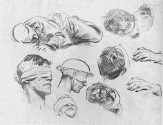 ART & ARTISTS / Studies for 'Gassed' 1918 - John Singer Sargent