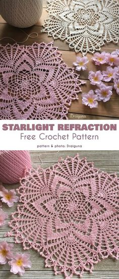 Starlight Reflection Doily Free Crochet Pattern These beautiful doilies will be a great addition to your decorative craft arsenal. This is a 21 round doily with a lacework-like texture which will Crochet Thread Patterns, Free Crochet Doily Patterns, Crochet Patterns For Beginners, Crochet Dreamcatcher Pattern Free, Crochet Doily Diagram, Tatting Patterns, Free Pattern, Crochet Home, Crochet Crafts