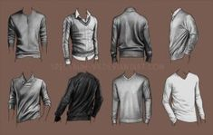 A study in sweaters by Spectrum-VII sweaters closed solid over the head front back detail shading references