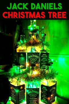 Jack Daniels Bottle Craft Ideas - things to make with empty Jack Daniel's whiskey bottles. Make a light, a Christmas tree, a soap dispenser, kitchen utensil holder and other DIY decor and decorations crafts diy jack daniels Jack Daniels Bottle Crafts Whiskey Bottle Crafts, Glass Bottle Crafts, Bottle Art, Christmas Trees For Kids, Christmas Mom, Christmas Recipes, Christmas Decor, Jack Daniels Bottle, Garlands