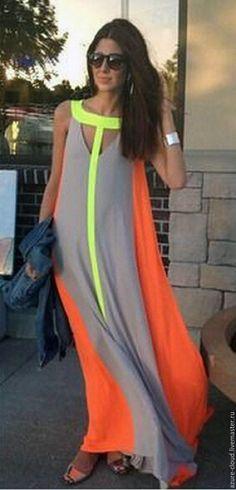 Купить платье из шифона - комбинированный, однотонный, модное платье, трехцветное платье, длинное платье