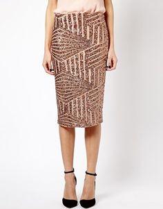 {river island bronze sequin pencil skirt - ASOS}