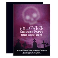 Cool Purple Halloween Costume Party Invitation - invitations custom unique diy personalize occasions