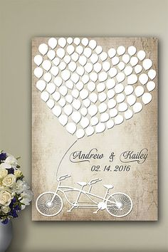 It's a rustic-look balloon heart and bicycle built for two to remember your wedding guests by. Learn more or buy in the My Online Wedding Help products section. Wedding Book, Diy Wedding, Wedding Gifts, Wedding Cakes, Wedding Ideas, Wooden Heart Guest Book, Bicycle Themed Wedding, Wedding Ceremony Outline, Wedding Guest Book Alternatives