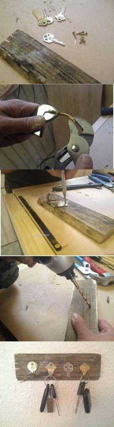 DIY Key Holder; or could do something similar for purses, coats, etc.