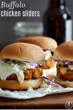 Buffalo Chicken Sliders - The Pampered Chef® Grilling Recipes, Cooking Recipes, Traeger Recipes, Grilling Ideas, Buffalo Chicken Sliders, Meatball Sliders, Pampered Chef Recipes, Slider Buns, Slider Recipes