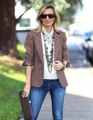 Take Another Look At Our Beautiful Sophia Jacket, this menswear inspired tweed women's jacket is a great classic that is always trendy Blazer Jackets For Women, Blazers For Women, Mom Outfits, Stylish Outfits, Boucle Jacket, Fashion Now, Jackets Online, Casual Looks, Work Wear