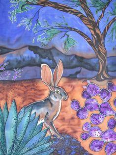 Jackrabbit After Rain in the Desert, 24 inch silk painting adhered to canvas Jack Rabbit, Silk Art, Fabric Painting, Hand Painted, Painted Silk, Buy Art, Moose Art, Deserts, Wildlife