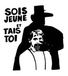 BE YOUNG AND SHUT UP. Situationist art from the Paris riots. A sillohette of De Gaul silences a young person. Guy Debord, Public Domain, Situationist International, Revolution Poster, Mai 68, Paris, Shut Up, Illustrations Posters, Apartheid