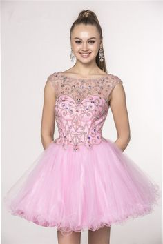 Ball Gown Illusion Boat Neckline Cap Sleeve V Back Short Pink Tulle Beaded Cocktail Prom Dress