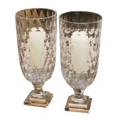 Pair of Deco Crystal Hurricanes | From a unique collection of antique and modern glass at https://www.1stdibs.com/furniture/dining-entertaining/glass/