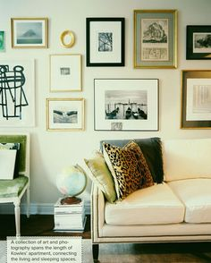 {Photography by Patrick Clein, Home of Matthew Kowles, Images from Lonny Magazine December 2012} | fabulous eclectic #art wall and a pretty living room  #artwall #gallerywall