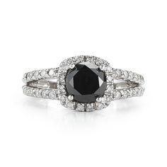2.63 Black Diamond Halo Ring  Split Shank by OutrageousDiamonds Sweet baby jesus