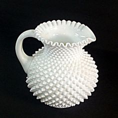 Fenton Milk Glass Hobnail 80 Ounce Jug Pitcher. Click on the image for more information. Fenton Glassware, Fenton Milk Glass, Vintage Glassware, Cut Glass, Glass Art, Glass Tea Cups, Carnival Glass, Antique Glass, Glass Collection