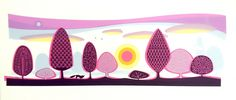 Sunset Forest by Sally Elford at boxbird Gallery   www.boxbird.co.uk   #illustration #scandi #midcentrymodern #printmaking #silkscreen #affordableart