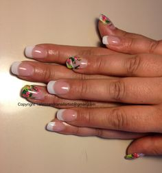 Acrylic full set plus tropical design. Inspired by Robin Moses