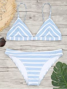 a1660b7fcd Chevron Striped Cami Bikini Set.  Zaful  swimwear