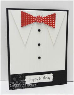 """great masculine card- hard to see but there are """"pleats"""" on the shirt as well made with score lines"""