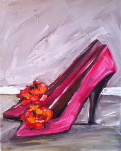 Shoes Painting Pink Orange Canvas by DevinePaintings on Etsy, $78.00