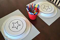 Superhero party craft. Make a Captain America shield. Kids craft for birthday party.