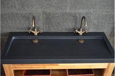 Double Vasques en granit noir YATE SHADOW à poser 120x50 haut de gamme - Living'ROC