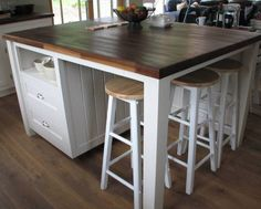 free standing kitchen island with seating...pretty close to what we want to build!