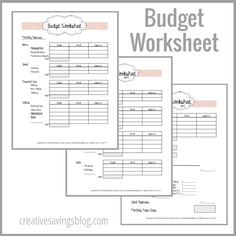 Use this FREE budget worksheet from Creative Savings to help guide you through your first budget!