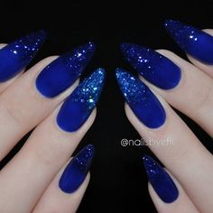 (notitle) - Nails, nail art, acrylic, gels and more ❤ - Nageldesign Blue Glitter Nails, Blue Coffin Nails, Almond Acrylic Nails, Blue Stiletto Nails, Cobalt Blue Nails, Glitter Toms, Nude Nails, Silver Glitter, Hot Nails