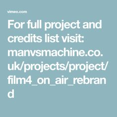 For full project and credits list visit: manvsmachine.co.uk/projects/project/film4_on_air_rebrand Car Symbols, Full Set, Projects, Log Projects