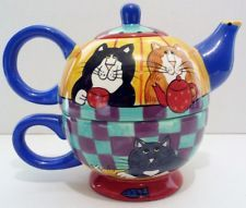 Catzilla Table Cats Tea For One Teapot by Candace Reiter - Cat Lovers Teapot!