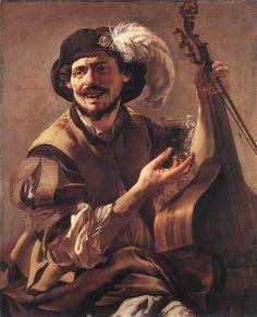 Хендрик Тербрюгген Улыбающийся виолончелист со стаканом 1625 г.