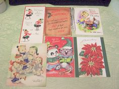 Lot of six vintage retro Christmas wishes greeting cards poinsettia snowman stocking funny humorous by BigGDesigns on Etsy