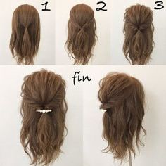 This hairstyle is easy and quick! Works best when you have a little curl on your hair, spray sea salt texturizing spray it to give you fullness and vo… - Coiffure Sites Pretty Hairstyles, Braided Hairstyles, Hairstyles For Short Hair Easy, Easy Hairstyles Tutorials, Hairstyle Ideas, Simple Hairdos, Easy Hairstyles For Medium Hair, Easy Hair Tutorials, Shoulder Length Hairstyles