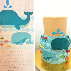 How amazing is this?! @prettypleasesf made a cake to match one of our baby shower invite designs for @paperlesspost. Yum! ###paperlesspost#babyshower
