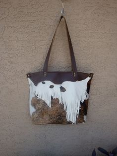 Rustic Fringed Chocolate Brown Leather by DiamondArrowLeathers, $170.00