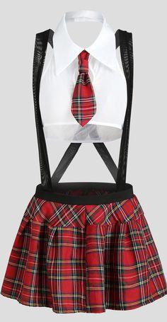 Plaid Suspender Schoolgirl Lingerie Costume - White S Lace Lingerie Set, Sexy Lingerie, Lingerie Underwear, Underwear Online, Lingerie Models, Look Fashion, Fashion Outfits, Steampunk Fashion, Gothic Fashion