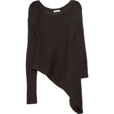 Helmut Lang Asymmetric open-knit alpaca and silk-blend sweater ($395) ❤ liked on Polyvore